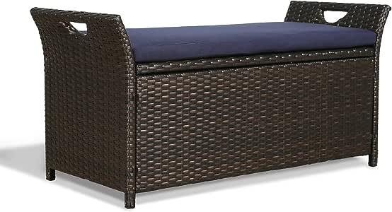 Iwicker Patio Wicker Storage Bench,Outdoor Rattan Deck Box with Cushion (Navy)