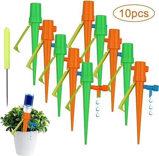 Sistema de liberación lenta de riego automático por goteo de las plantas del jardín de los picos 10pcs con la válvula ajustable del tornillo: Amazon.es: Hogar