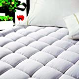 """EASELAND Quilted Fitted ✅Cooling Mattress Pad (Queen)-Mattress Cover Stretches up ✅8-21"""" Deep Pocket Down Alternative Filling Mattress Topper"""