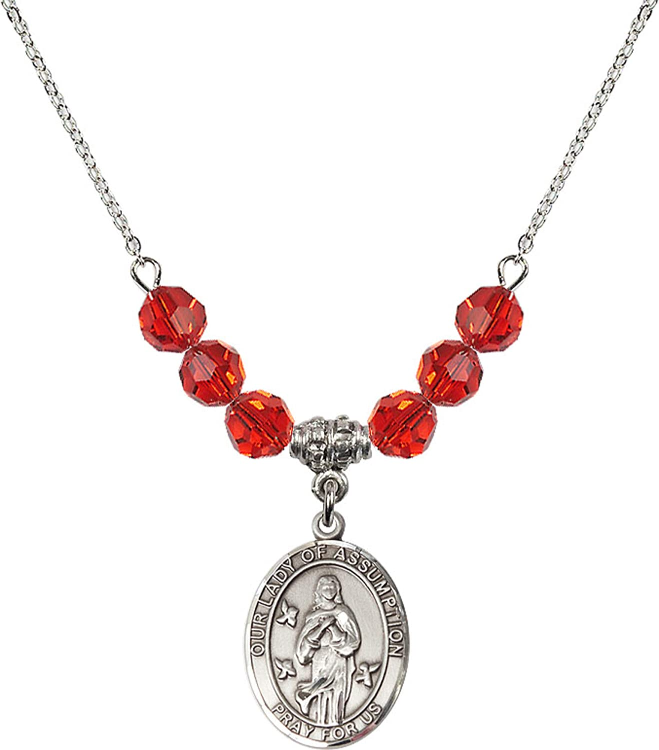 Bonyak Jewelry 18 Inch Rhodium Plated Necklace w// 6mm Red July Birth Month Stone Beads and Our Lady of Assumption Charm