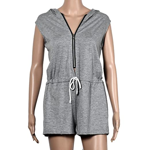 HOMEBABY Womens Summer Zipper Sleeveless Hoody Jumpsuit - Ladies Clubwear  Bodycon Playsuit Romper Beachwear Holiday Wear Playsuit Short Pant:  Amazon.co.uk: ...