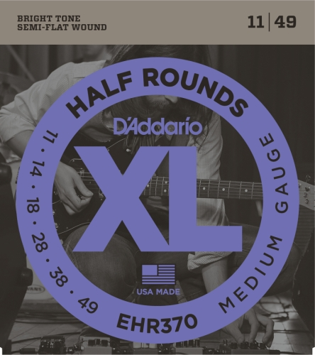 D'Addario EHR370 Half Round Electric Guitar Strings, Medium,