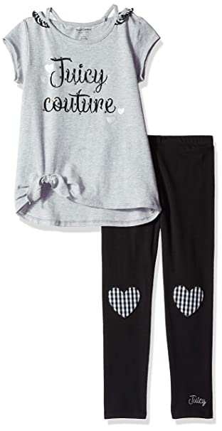 75ed440af7d6 Juicy Couture Girls' Toddler 2 Pieces Legging Set, Gray/Black, ...