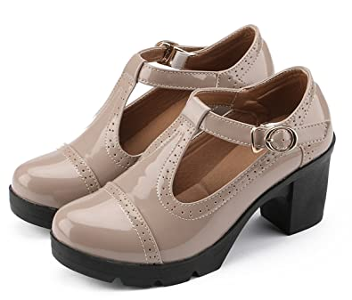 DADAWEN Women s Classic T-Strap Platform Mid-Heel Square Toe Oxfords Dress  Shoes Apricot 2ed023c5d3