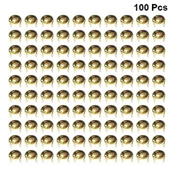 R SODIAL 1000X Remaches Tachuelas Cobre Color Dorado para Bolso Ropa 2.5mm