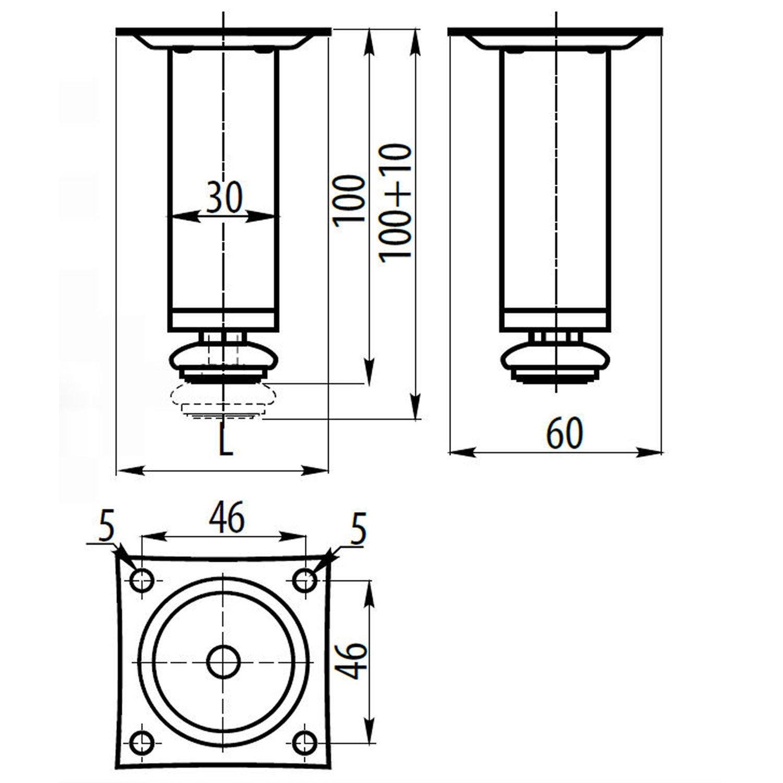 10 x Mprofi MT/® Patas de Metal muebles armario de cocina pies redondo cromo pulido altura 100 mm di/ámetro de 30 mm altura regulable