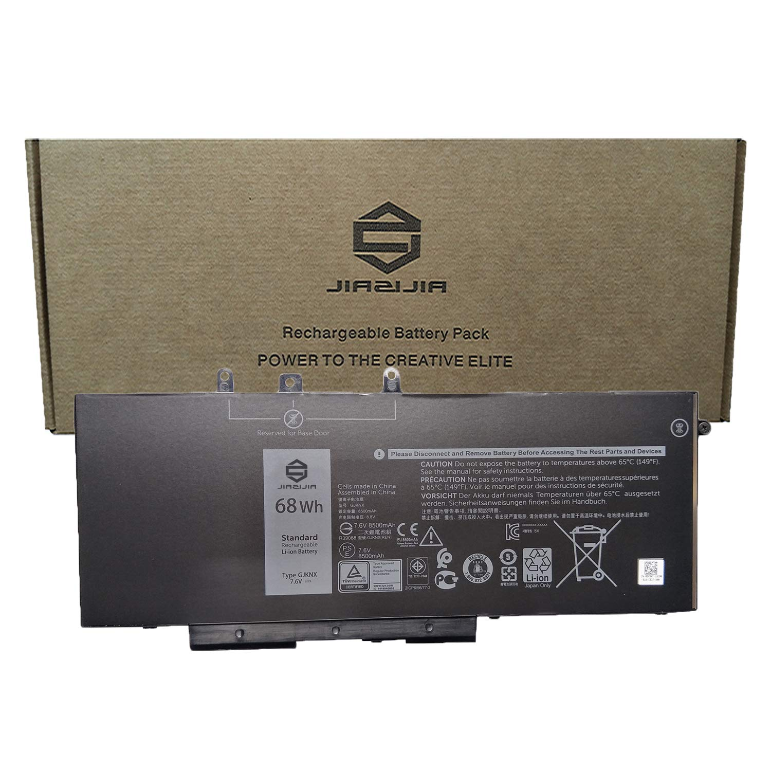 JIAZIJIA GJKNX Laptop Battery Replacement for Dell Latitude 14 5480 E5480 15 5580 E5580 14 5490 E5490 15 5590 E5590 Precision 3520 3530 Series 93FTF 3DDDG GD1JP DY9NT 5YHR4 7.6V 68Wh 8500mAh by JIAZIJIA (Image #1)