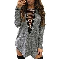Yidarton Damen Minikleid Lace-up Lange Ärmel Tiefe V-Ausschnitt Mini Hemdkleid Tops Bluse