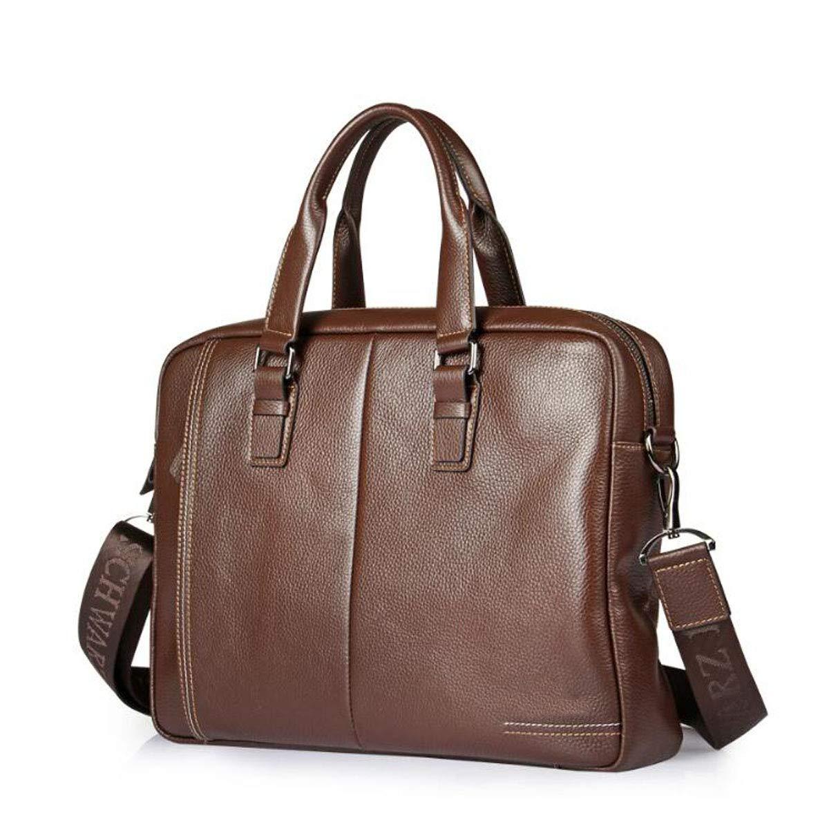 Mens Leather 14-inch Computer Bag Mens Portable Business Bag Briefcase Size: 38828cm