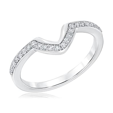 Amazoncom Curved VShaped Diamond Wedding Band 15ctw Jewelry