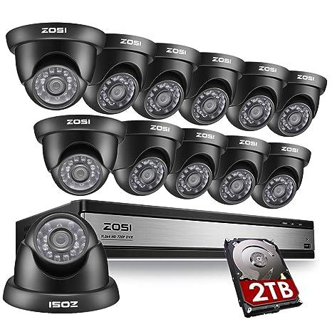 ZOSI 720 P sistema de cámaras de vigilancia 16 canales con 2 TB Disco duro 16