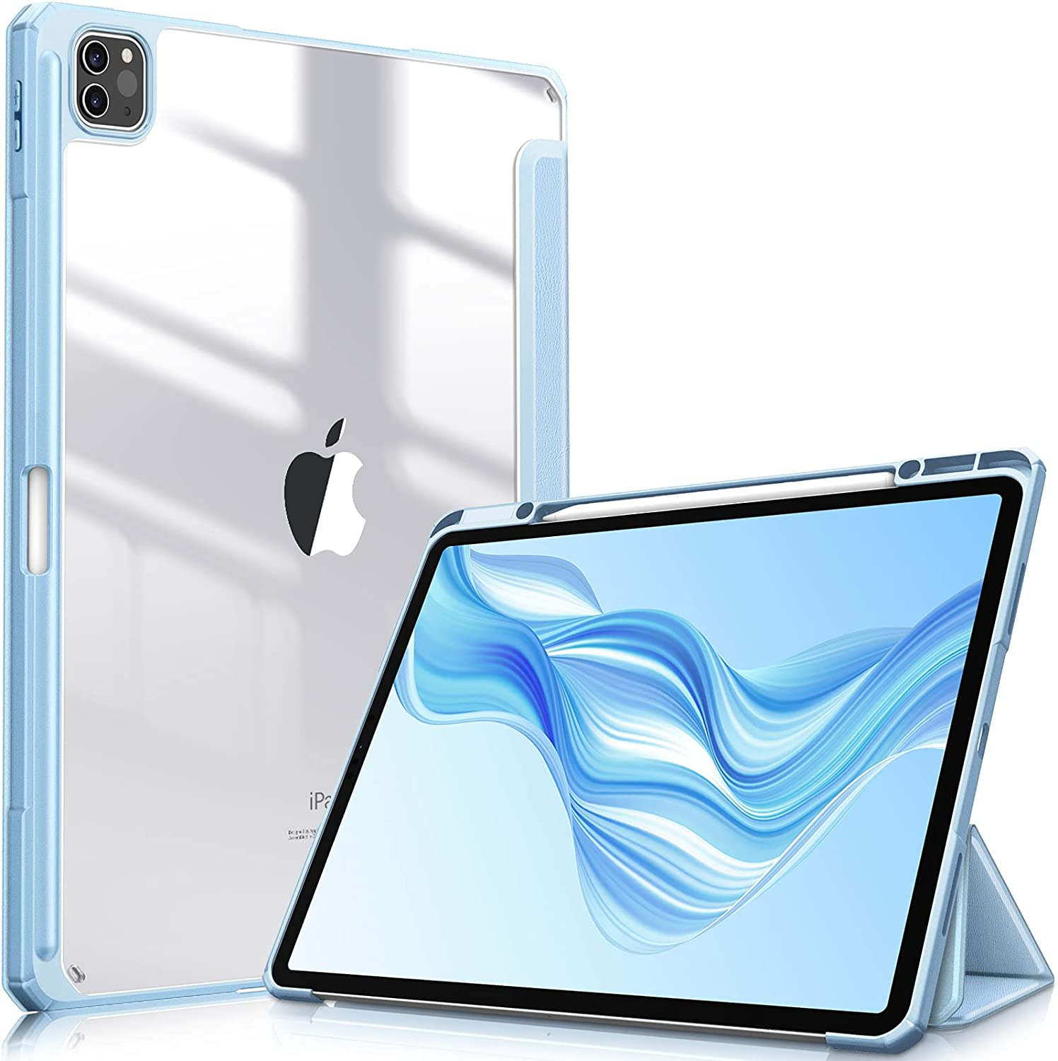 Fintie Hybrid Slim Case for iPad Pro 12.9-inch 5th Generation 2021 - [Built-in Pencil Holder] Shockproof Cover with Clear Transparent Back Shell, Also Fit iPad Pro 12.9