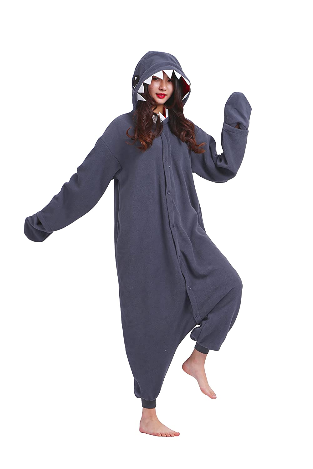 6b35c2903e Magicmode Unisex Animali Cartoon Kigurumi Pigiama Adulti Onesie Anime  Cosplay Felpa Pigiameria Squalo Nero S: Amazon.it: Abbigliamento