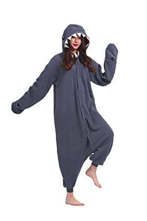 Magicmode Unisex Cosplay Animals Onesie Pajamas Halloween Costumes Hoodie Sleepwear Dress Shark L