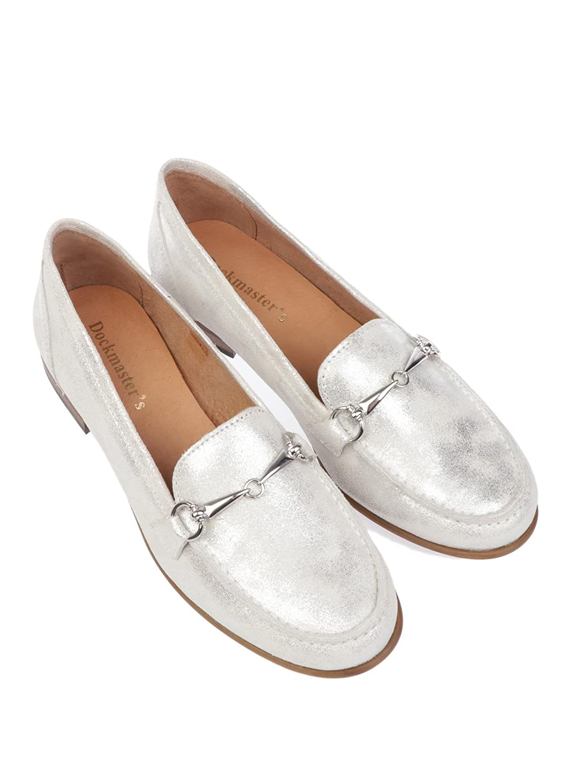 DOCK MASTERS Womens SHILABIANCO White Leather Loafers