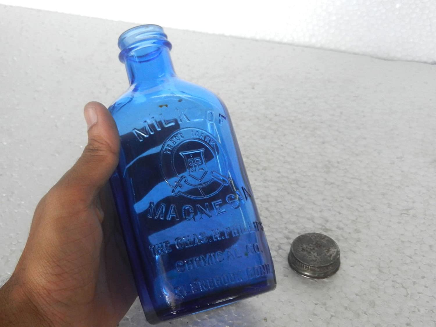 Vintage Phillips Milk Of Magnesia Glass Bottle, Original Cap: Amazon.es: Hogar