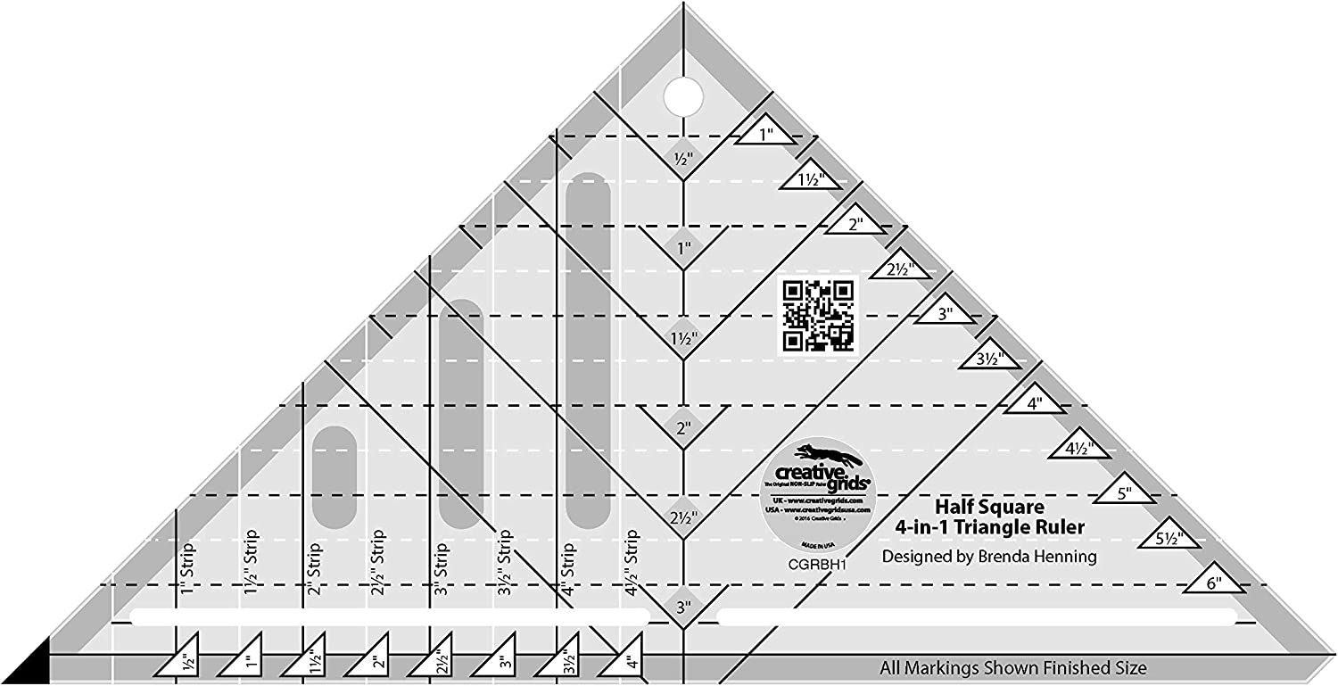 Creative Grids Half-Square 4-in-1 Triangle Quilt Ruler CGRBH1