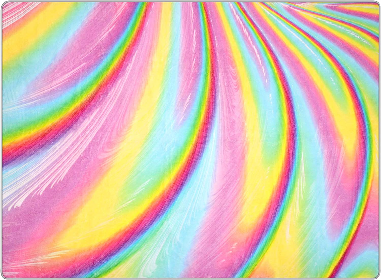 PartyKindom Kids Rug for Girls Room with Non-Slip Design - Rainbow Area Rugs for Children Kids Bedroom Play Room Nursery Colorful Fluffy Carpet Home Decor (5 x 6.5 Ft)