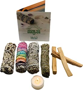 Smudge Kit Spiritual Set - White Sage, Cedar, 7 Chakra Sage, Yerba Santa, Palo Santo, Sandalwood T-Lite Candle - For Purifying, Cleansing, Healing, Meditating, Blessing, Manifesting, Love (Smudge Kit)