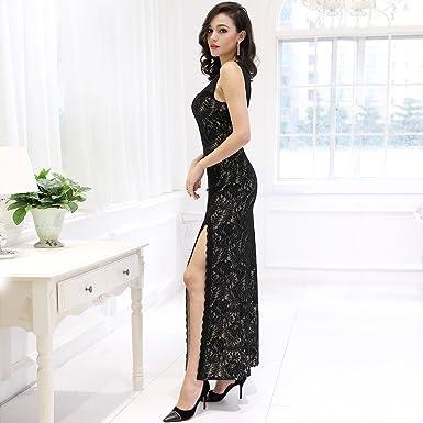 Miusol Womens Sleeveless Long Black Lace Split Side Evening