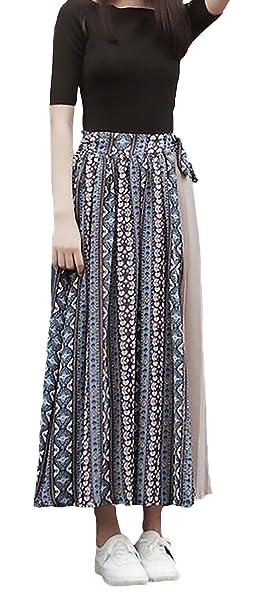 54fdd13a5a Faldas Largas Mujer Verano Vintage Moda Flores Estampado Clásico Especial  Splicing Elegantes Casual Cintura Elástica Maxi