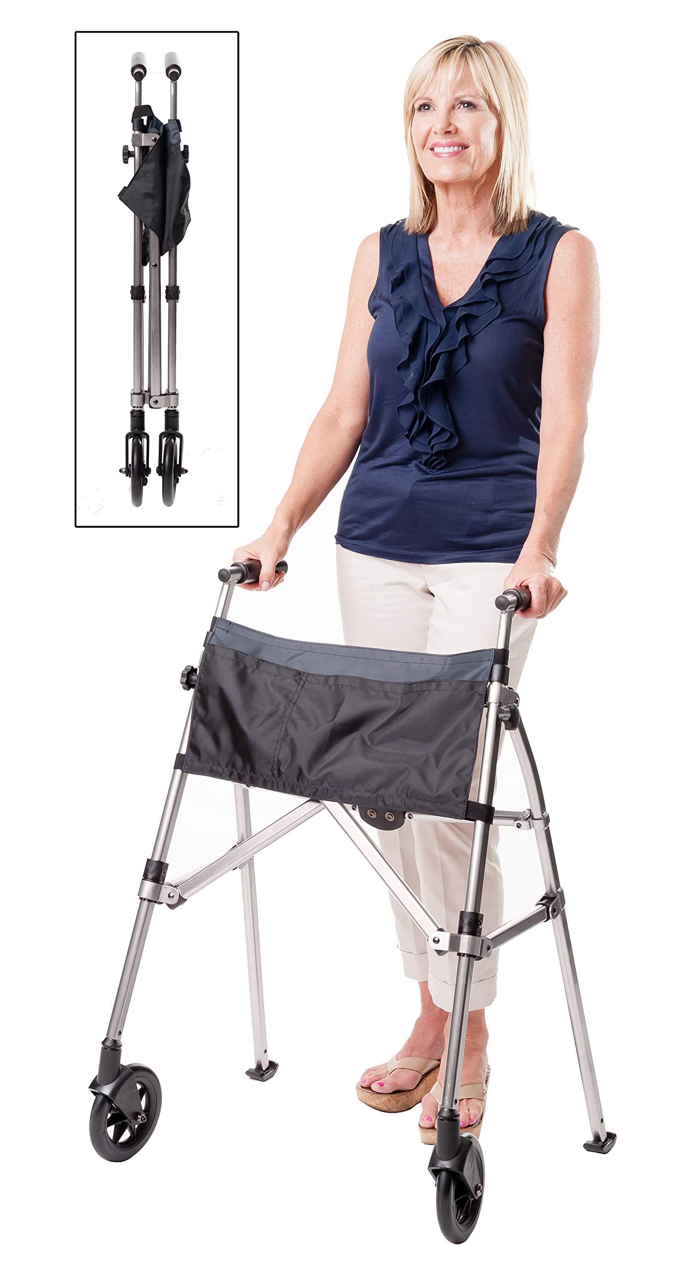 Stander EZ Fold-N-Go Walker - Lightweight Folding & Height Adjustable Adult Travel Walker for Seniors + Locking Swivel Wheels & Pouch - Black Walnut