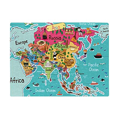 Personalized Asia Map with Animal in Cartoon Style Puzzles Rectangle Jigsaw Puzzle with Funny Picture Art for Adults Children Wedding Anniversary Birthday A3 Size 252 Pieces: Toys & Games [5Bkhe0805440]