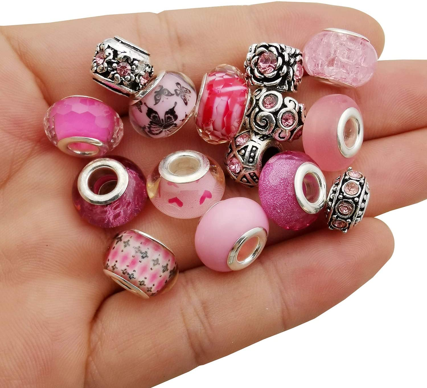 30pcs Assorted Pink European Beads Large Holes Spacer Beads Rhinestone Metal Charms Supplies for Bracelet Necklace Jewelry Making (M310)