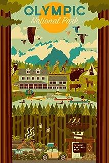product image for Olympic National Park, Washington - Geometric 79890 (24x36 SIGNED Print Master Art Print - Wall Decor Poster)