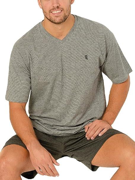 Pijama de Caballero Corto Moderno en Falso Liso/Ropa de Dormir para Hombre - Punto