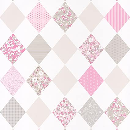 Argyle Wallpaper White And Taupe With Floral Texture Fuchsia Pink Grey Pretty Lili