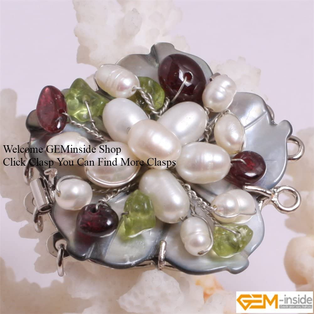 CA0002 GEM-inside 1Piece Natural Shell Carved Flower Fresh Water Pearl Clasp Necklace Bracelet Jewelry Making 22mm Color Random