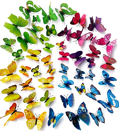 Amaonm 96pcs 8 Packages 3d Butterfly Wall Stickers Murals Removable DIY Butterflies  Wall Decals Wall Art