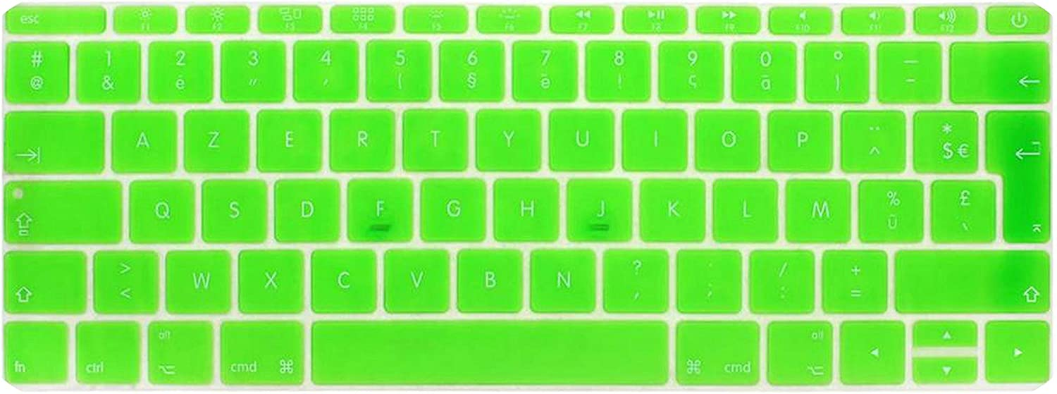 2016 Version,No Touch Bar Azerty French UK Silicone Keyboard Cover Skin for MacBook New Pro 13 A1708 for 12 A1534 Retina-White