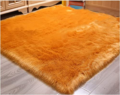 Elhouse Soft Faux Fur Sheepskin Home Decor Square Area Rug Shaggy Carpet Fluffy Floor Rugs for Baby Bedroom, 4ft x 4ft, Gold