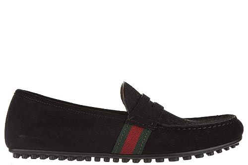 Gucci Mocasines en Ante Hombres Nuevo Queen Gros Grain Driver Web Negro EU 44 407411 CMAK0 1060: Amazon.es: Zapatos y complementos