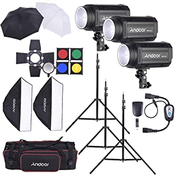 Andoer MD-250 750W (250W x 3) Studio Strobe Flash Light Kit with  sc 1 st  Amazon.com & Amazon.com : Andoer MD-250 750W (250W x 3) Studio Strobe Flash Light ...