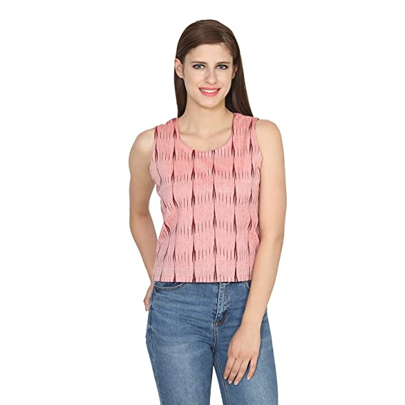 5ede72f0b33a5c Vivaa Pure Ikkat Handloom Cotton X Small Pink Round Neck Sleeveless Top