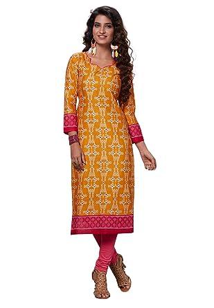 8e2b49a7c9 S Salwar Studio Women's Orange & Pink Cotton Printed Straight Fit Readymade  Kurta/Kurti-SSK-ZOYA-2128: Amazon.in: Clothing & Accessories