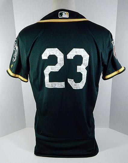 86ce980df926f 2018 Oakland Athletics A's Matt Joyce #23 Game Used Green ST Jersey ...