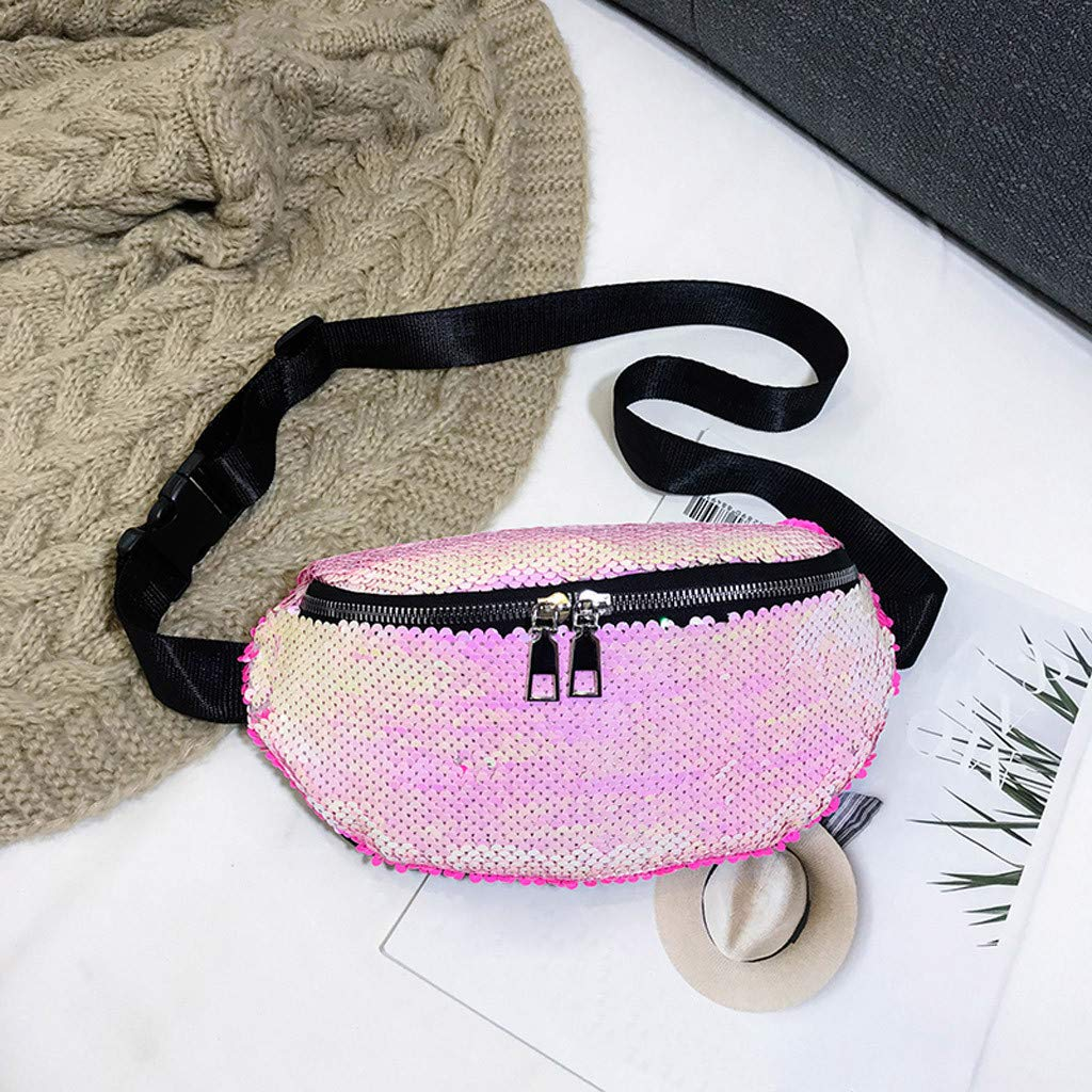 Sequin Fanny Pack Mermaid Waist Bag Reversible Sequin Waist Pack Sparkly Sling Bag for Women Hip Fanny Bag Belt Bag