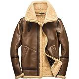 Denny&Dora Mens Shearling Coat Mens Fur Coat Light Brown Baseball Sheepskin Aviator Jacket