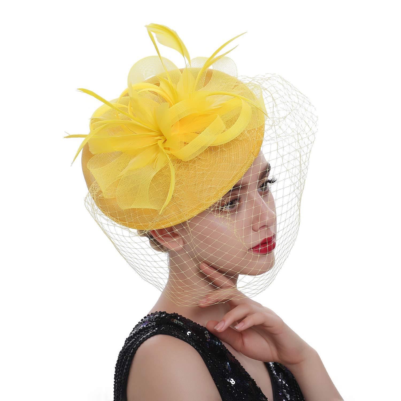 LATIMOON Sinamay Fascinators Kentucky Derby Headband Bridal Wedding Hats Tea Party Headwear for Women and Girls (A-Yellow)