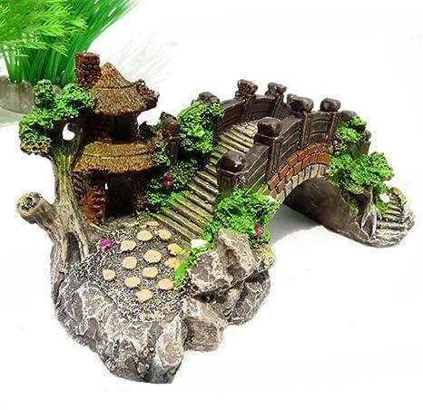 OHlive - Puente Antiguo de Acuario con Adorno de árbol para decoración de paisajes de peceras