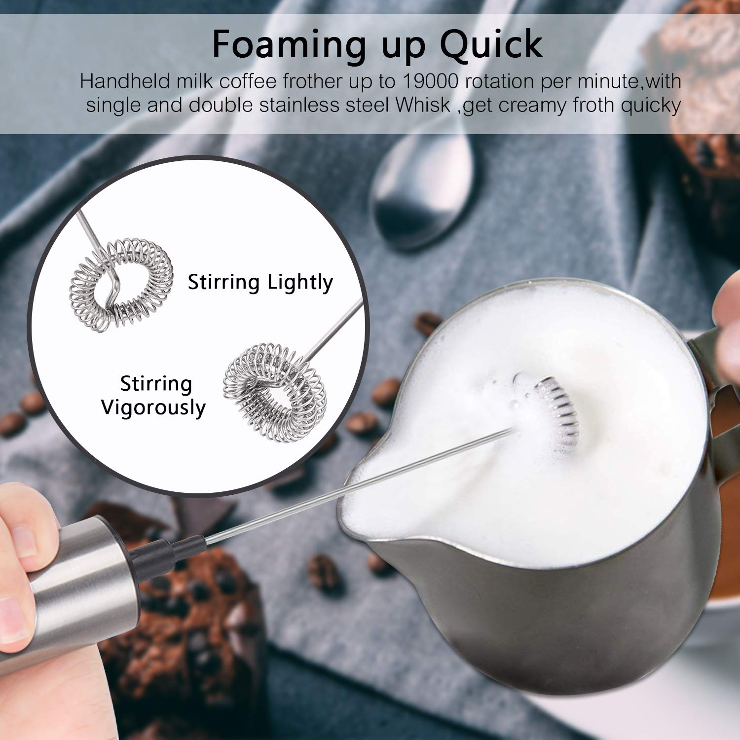 Portable Milk Frother, PEMOTech [3 in 1] Electric Milk Forther with Mix Spoon & 16 PCS Art Stencils, Handheld Frother Foam Maker with Double & Single Spring Whisk Head for Coffee, Cappuccino, Latte by PEMOTech (Image #5)