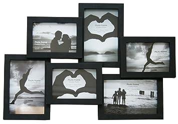 6 multi collage photo frame black amazon co uk kitchen home
