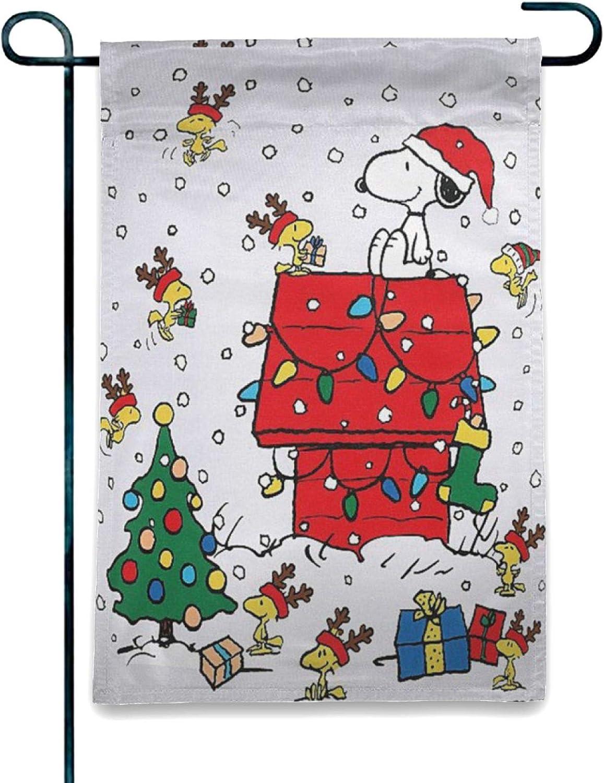 """WOMFUI Christmas Double-Sided Yard Flag Snoopy Snow Terrace Flag Snoopy Flag for Garden Lawn Balcony   12.5"""" x 18"""""""