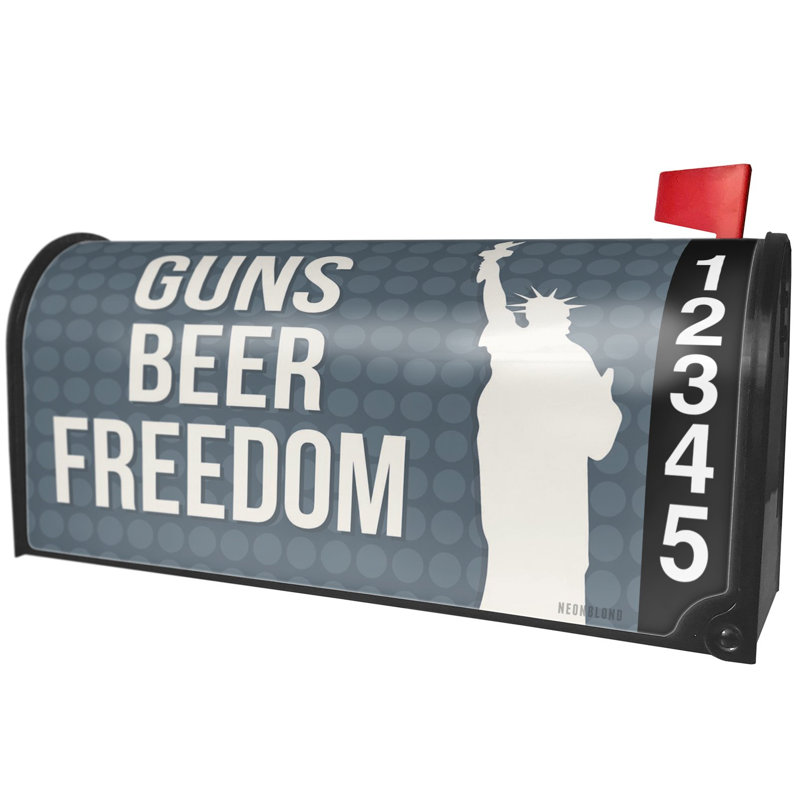 NEONBLOND Guns Beer Freedom Fourth of July Lady Liberty Magnetic Mailbox Cover Custom Numbers