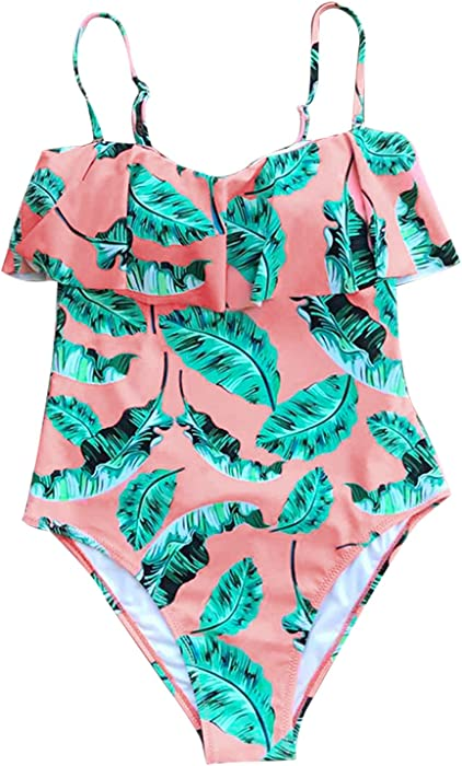 fb41d00901 CUPSHE Women s Falbala Leaves Printing Padding One Piece Swimsuits Beach  Bathing Suit