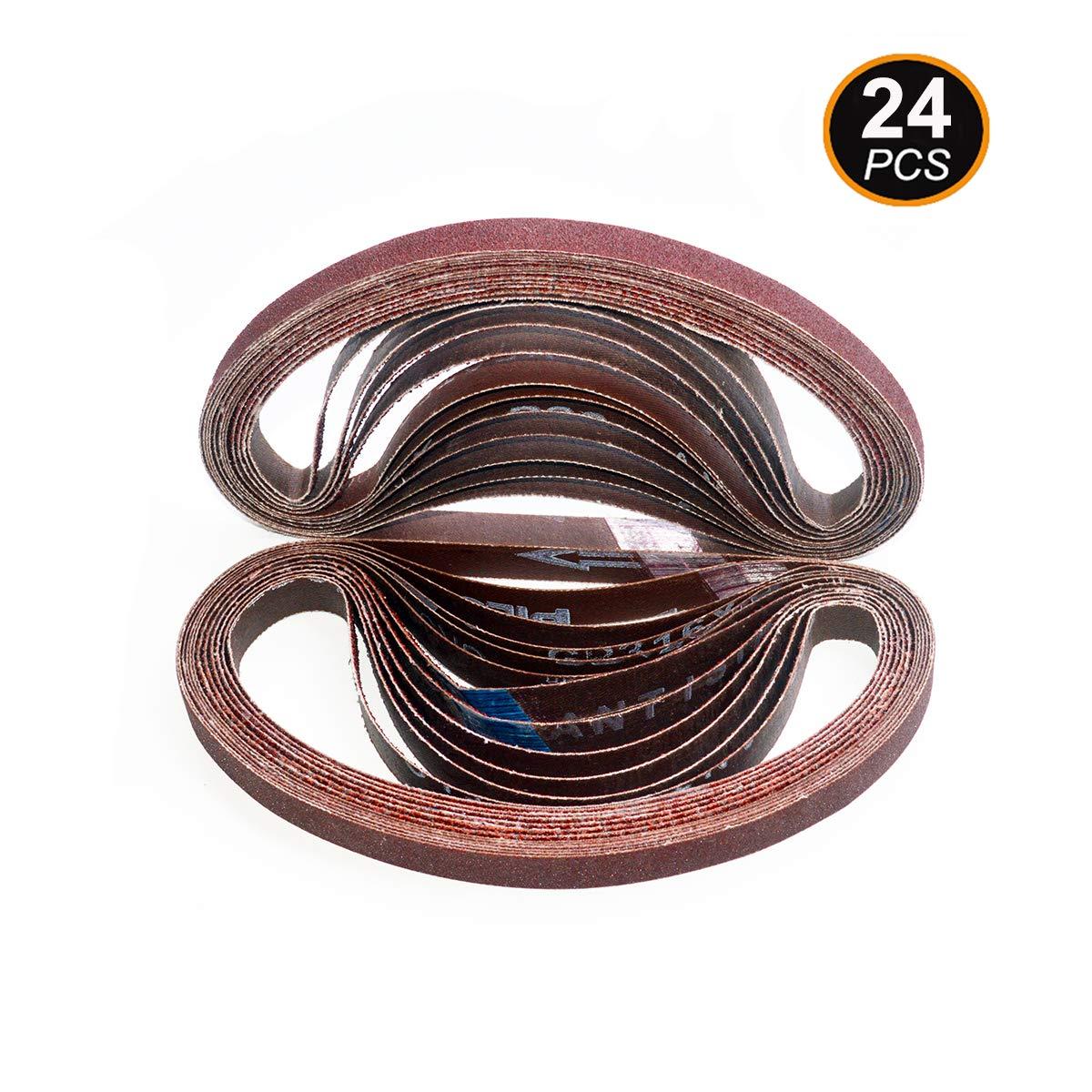 Aiyard 1/2 x 18 inch Aluminum Oxide Sanding Belts, 40/60/80/120/180/240 Assorted Grits Abrasive File Belts for Air Belt Sander, 24-Pack